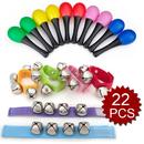 Aspire 22PCS Wrist Shakers Bells Jingles Rhythm Music Instrument Enlighten Toy