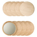 10 Pcs Personalized Wooden Pocket Mirror, Small Round Makeup Mirror
