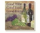 Counter Art CART87997 Good Wine Good Friends Coasters Set of 4