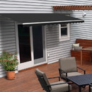 ALEKO AWM10X8BK81-AP Motorized Retractable White Frame Patio Awning 10 x 8 Feet - Black
