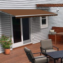 ALEKO AWM10X8BROWN36-AP Motorized Retractable White Frame Patio Awning - 10 x 8 Feet - Brown