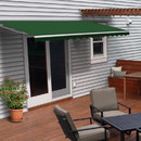 ALEKO AWM10X8GREEN39-AP Motorized Retractable White Frame Patio Awning - 10 x 8 Feet - Green