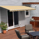 ALEKO AWM10X8MSRTY315-AP Motorized Retractable White Frame Patio Awning - 10 x 8 Feet - Multi Striped Yellow