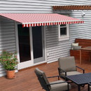 ALEKO AWM10X8RWSTR05-AP Motorized Retractable White Frame Patio Awning - 10 x 8 Feet - Red and White Striped