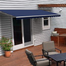 ALEKO AWM12X10BLUE30-AP Motorized Retractable White Frame Patio Awning 12 x 10 Feet - Blue