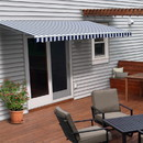 ALEKO AWM12X10BWSTR03-AP Motorized Retractable White Frame Patio Awning 12 x 10 Feet - Blue and White Striped