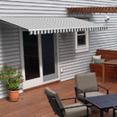 ALEKO AWM12X10GREYWHT-AP Motorized Retractable White Frame Patio Awning 12 x 10 Feet - Gray and White Striped