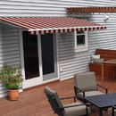 ALEKO AWM13X10MSTRRE19-AP Motorized Retractable White Frame Patio Awning - 13 x 10 Feet - Multi Striped Red