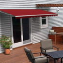 ALEKO AWM16X10BURG37-AP Motorized Retractable White Frame Patio Awning - 16 x 10 Feet - Burgundy