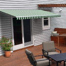 ALEKO AWM16X10GRWHSTR00-AP Motorized Retractable White Frame Patio Awning - 16 x 10 Feet - Green and White Striped