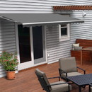 ALEKO AWM16X10GY80-AP Motorized Retractable White Frame Patio Awning - 16 x 10 Feet - Gray
