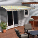 ALEKO AWM16X10MSYL320-AP Motorized Retractable White Frame Patio Awning - 16 x 10 Feet - Multi-Striped Sunset