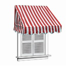 ALEKO AWWIN-RDWTSTR-AP-0001 Retractable Door Or Window Awning - 4 x 2 Feet - Red and White Stripes