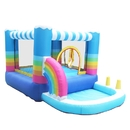 ALEKO BH0011-AP Indoor/Outdoor Inflatable Bounce House with Built-In Ball Pit - Rainbow Design - Multi Color