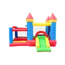 ALEKO BH0014-AP Indoor/Outdoor Inflatable Bounce House Mega Castle with Built-In Ball Pit, Slide, and Hoop - Multi Color