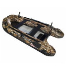 ALEKO BTF380HU PRO Fishing Boat Raft 12.5 Feet (3.8 m) with Aluminum Floor 6 Person Inflatable Boat with Fishing Rod Holders and Front Board, Hunter Style Color