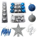 ALEKO CHB013-AP Shatterproof Complete Holiday Ornament And Tree Topper Variety Pack - Set Of 50 - Blue And Silver