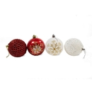 ALEKO CHB02RDWH-AP Shatterproof - Iridescent Holiday Ornament Variety Pack - Set of 9 - Red and White