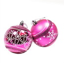 ALEKO CHB04RS-AP Shatterproof - Winter Print Ornament Holiday Set with Decorative Box - Set of 12 - Hot Pink