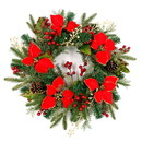 ALEKO CHDW22RD-AP Decorative Holiday Christmas Wreath - Red and Gold