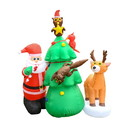 ALEKO CHID016-AP Inflatable LED Santa and Friends Christmas Tree Decor Committee with UL Certified Blower - 7 Foot
