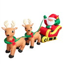 ALEKO CHID024-AP Inflatable Santa And Reindeer Delivery Trio With Ul Certified Blower - 8 Foot