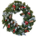 ALEKO CHW011-AP Decorative Holiday Christmas Pre-Lit Artificial Snow Dusted Wreath With Wintry Accents - Large