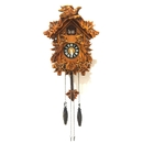 ALEKO CKC02-AP Handcrafted Wooden Cuckoo Wall Clock with Chirping Bird - 10.5 x 9 x 5 Inches - Brown