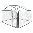 ALEKO DK7X7X4RF-AP DIY Chain Link Dog Kennel with Roof - 7.5 X 7.5 X 4 Feet