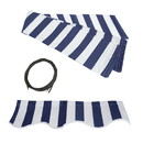 ALEKO FAB10X8BLUWT03-AP Retractable Awning Fabric Replacement - 10x8 Feet - Blue and White Striped