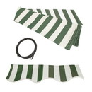 ALEKO FAB10X8GRWT00-AP Retractable Awning Fabric Replacement - 10x8 Feet - Green and White Striped