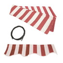 ALEKO Awning Fabric Replacement for 16x10 Ft Retractable Patio Awning, RED and WHITE Stripes