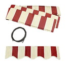 ALEKO FAB20X10MSRED19-AP Retractable Awning Fabric Replacement - 20x10 Feet - Multi Striped Red