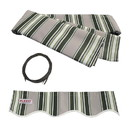 ALEKO FAB20X10MSTRGR58-AP Retractable Awning Fabric Replacement - 20x10 Feet - Multi Striped Green