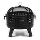 ALEKO FP002-AP Steel Fire Pit with Log Grate and Poker - Black - 25 Inches