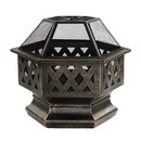 ALEKO FP004-AP Hex Shaped Steel Fire Pit - Distressed Bronze - 24 Inches