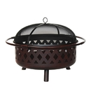 ALEKO FP008-AP Steel Weave Pattern Fire Pit Distressed Bronze - 36 Inches - Large Bowl