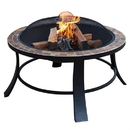 ALEKO FP012-AP Round Mosaic Tile Slated Top Fire Pit - 24 inches - Brown