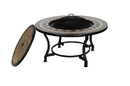 ALEKO FPT013-AP Round Mosaic Tile Fire Pit Table with Flat Lid - 34 inches - Brown