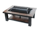 ALEKO FPT015-AP Rectangular Mosaic Tile Slated Steel Fire Pit Table - 36 inches - Brown
