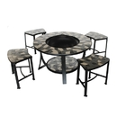 ALEKO FPT016-AP Round Mosaic Tile Fire Pit Table with Stools - 36 inches - Grey