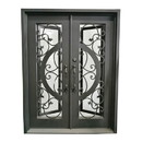 ALEKO IDQD38-AP Iron Vine and Curve Dual Door with Square Top Frame and Threshold - 81 x 62 x 6 Inches - Matte Black