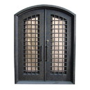 ALEKO IDRD14-AP Iron Woven Dual Door with Arched Top Frame and Threshold - 81 x 62 x 6 Inches - Rustic Bronze