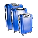ALEKO LG201DBL-AP ABS Luggage Travel Suitcase Set with Lock - 3 Piece - Multi Stripe - Dark Blue