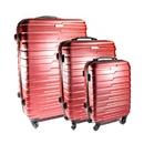 ALEKO LG915BURG-AP ABS Luggage Travel Suitcase Set with Lock - 3 Piece - Horizontal Stripe - Burgundy