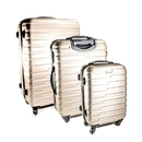 ALEKO LG915CHA-AP ABS Luggage Travel Suitcase Set with Lock - 3 Piece - Horizontal Stripe - Champagne