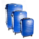 ALEKO LG915DBL-AP ABS Luggage Travel Suitcase Set with Lock - 3 Piece - Horizontal Stripe - Dark Blue