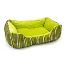 ALEKO PB06STGR 20 X 16 X 6 Inch (51 X 41 X 15 cm) Soft Plush Pet Cushion Crate Bed, Green Stripes