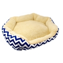 ALEKO PB22YB-AP Plush Round Dog Bed with Extra Tall Sides - 22 x 18 Inches - Cream with Blue and White Zigzag