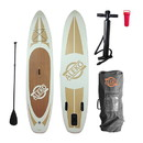 ALEKO PBS03-AP Inflatable Paddle Board with Carry Bag - Wood Grain
